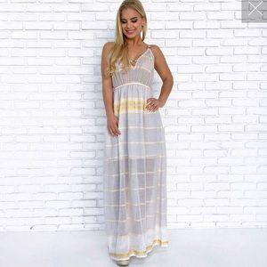 Yellow white summer maxi dress